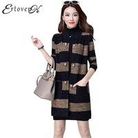 Striped Long Style Women Cardigan Loose Jackets Large Size Coats Autumn Lady Sweater 2017 Long Sleeves