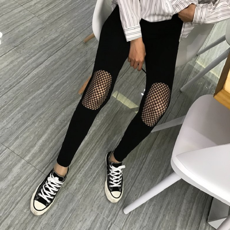 Plus Size Leggings For Wome Hole Hollow Out Mesh Leggings Hipster Stretch WomenS Clothing