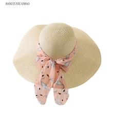 цена на Summer Straw Hat Women Big Wide Brim Beach Hat Bowknot Sun Hat Foldable Sun Block UV Protection Panama Hat Bone Chapeu Feminino
