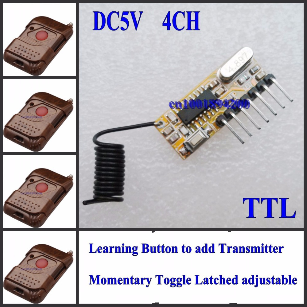 Decoding Receiver Module DC 5V 4CH Receiver High Level Siginal + Transmitter Learning Code ASK 315/433 Momentary Toggle Latched dc 5v bluetooth audio receiver module usb tf sd card decoding board preamp output support fat32 system