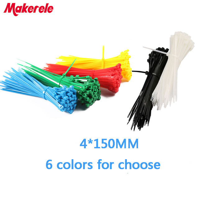 4*150mm Colorful nylon cable ties cable wire tie Self Locking ...