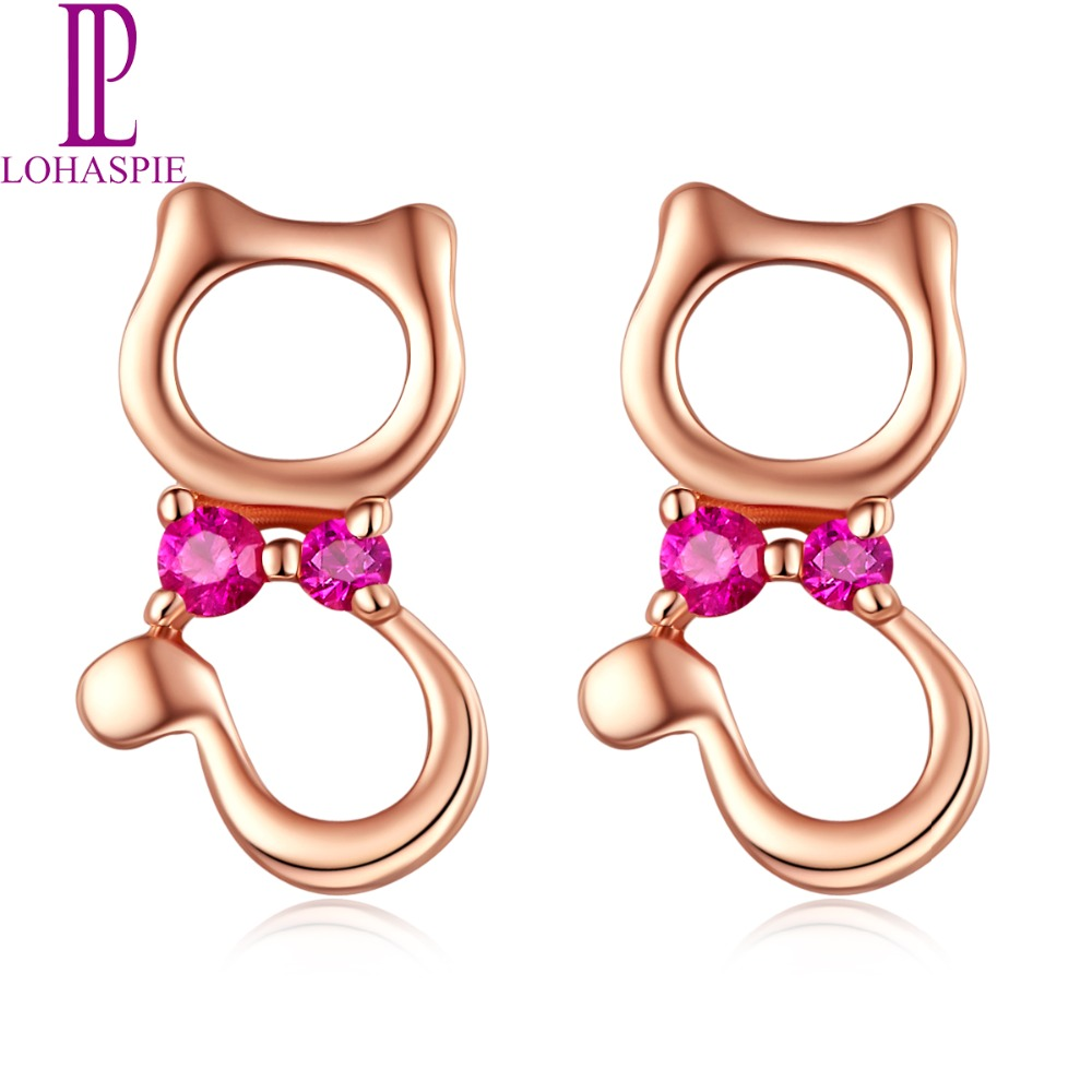 LP pierres précieuses naturelles rubis minuscules boucles d'oreilles solide 9 K 10 K 14 K 18 K or Rose bijoux fins pour les femmes juillet cadeau d'anniversaire