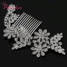 bridal alloy Hair combs rhinestone leaves wedding jewelry bridal wedding combs crystal bride headdress wedding accessoriesRE389(China)