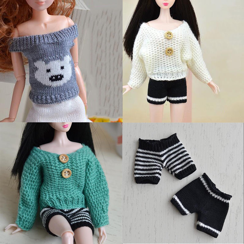 CXZYKING Pure Manual Barbie Doll Accessories Knitted Handmade Sweater Tops Coat Dress Clothes For Doll Gifts For Girls Kids Toy 30 new styles festival gifts top trousers lifestyle suit casual clothes trousers for barbie doll 1 6 bbi00636