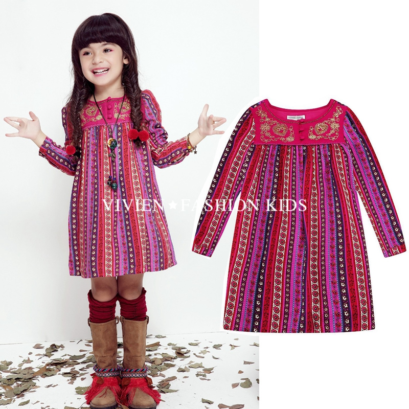 New 2016 Striped Patchwork Character Girl Dresses Long Sleeve Cute Mouse Children Clothing Kids Girls Dress