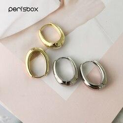 Peri'sbox 25mm * 19mm Altın Geniş Oval Hoop Küpe Kadınlar için Minimalist Günlük Küpe Çemberler Modern Pirinç Huggie küpe Hediyeler