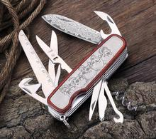 HX outdoors multi-function army knife combination folding pliers high-quality gift Damascus  swiss