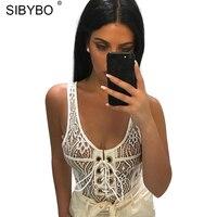 Sibybo Sleeveless Skinny Sexy Lace Bodysuit Women Bandage O Neck Summer Rompers Womens Jumpsuit Lace Crochet