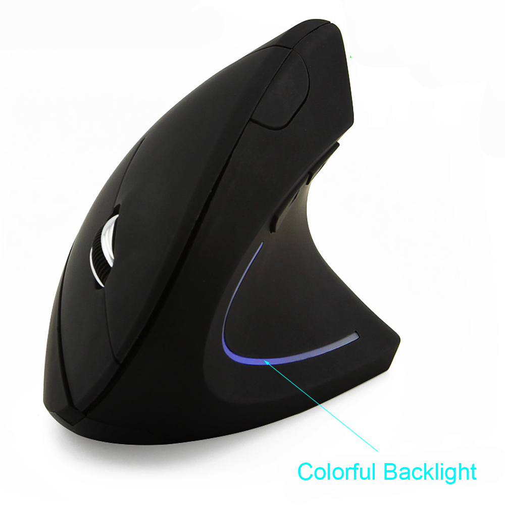 Wireless Mouse Ergonomic Optical 2 4G 1600DPI Colorful Light Wrist Healing Vertical Mice with Mouse Pad