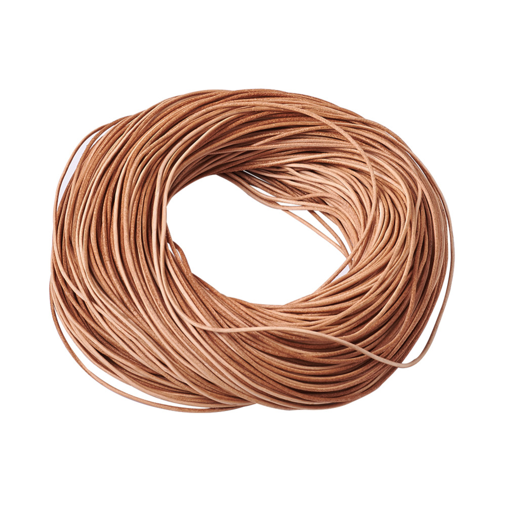 32.8 feet Brown Round Real Genuine Leather Jewelry Cord String 2mm