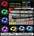 1 unids SMD 5050 60 LED/M RGB LLEVÓ la Tira 5 M 300 LED DC12V IP65 Impermeable linterna LED Tira de cinta de Luz LED string iluminación