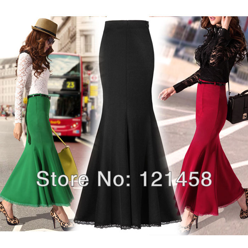 Spring Autumn Vintage Fashion Sexy Slim Green Wine Lace Ladies Stretch Mermaid Long Maxi Skirts for Womens (belt)