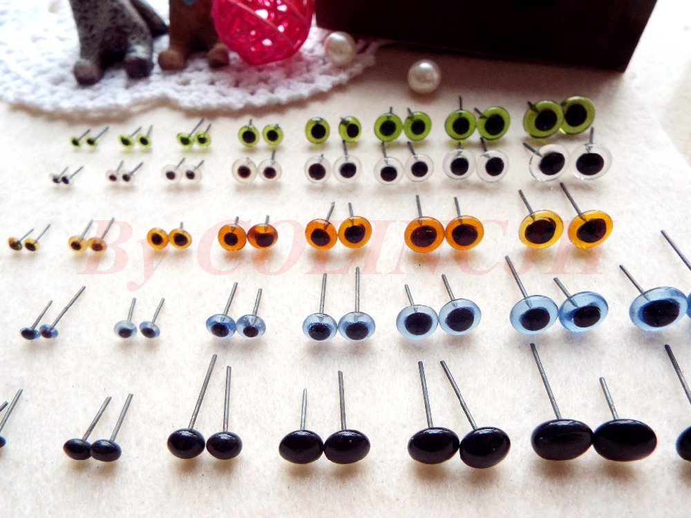 Hot Sale! 100pcs/lot Mix-Color Glass Eyes 2mm-12mm 5 Colors