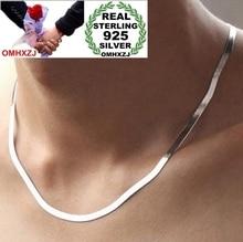 OMHXZJ Partihandel Mode kvinna man 4.0mm Platina 925 Sterling Silver Flat Snake Ben Korta Kedjor Halsband Par Present NK07