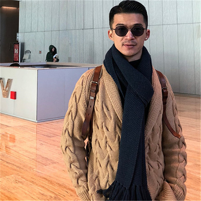 100% Hand Made Pure Wool Turn-down Collar Knit Men Fashion Twist Solid Single Breasted Cardigan Sweater Customized