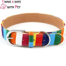 free shipping size M#2.0*40cm colors stripes cloth material alloy buckle dog collar pet