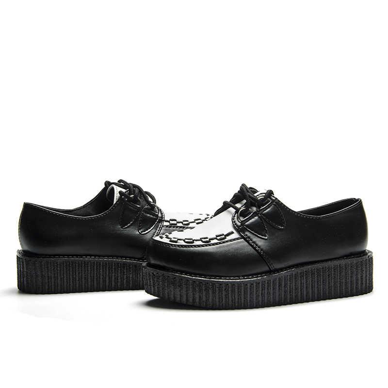 Fujin/Брендовая женская обувь на толстой подошве; обувь на плоской платформе; женская повседневная обувь черного цвета; женская обувь на толстой подошве на шнуровке; большие размеры
