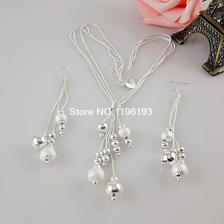 Wholesale Silver Jewerly Set,Cheap Bridal Party Sets,Fashion Three lIne Bundle Beads Silver Necklace Earring Two-pieces