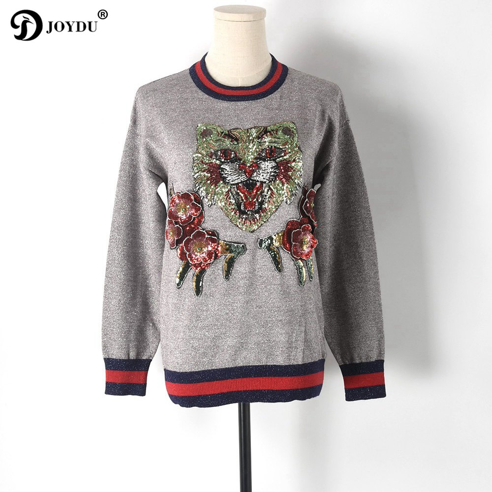 Best Quality Runway Sweater Women 2018 Designer Bright Silk 3D Cat Flower Sequins Embroidery Winter Knit Pullover Novelty Jumper