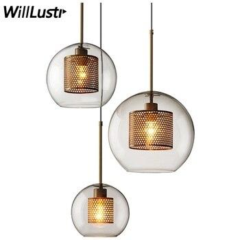Подвесная лампа с железным ситом, современный подвесной светильник из прозрачного стекла, промышленный дизайн, столовая, ресторан, отель, л