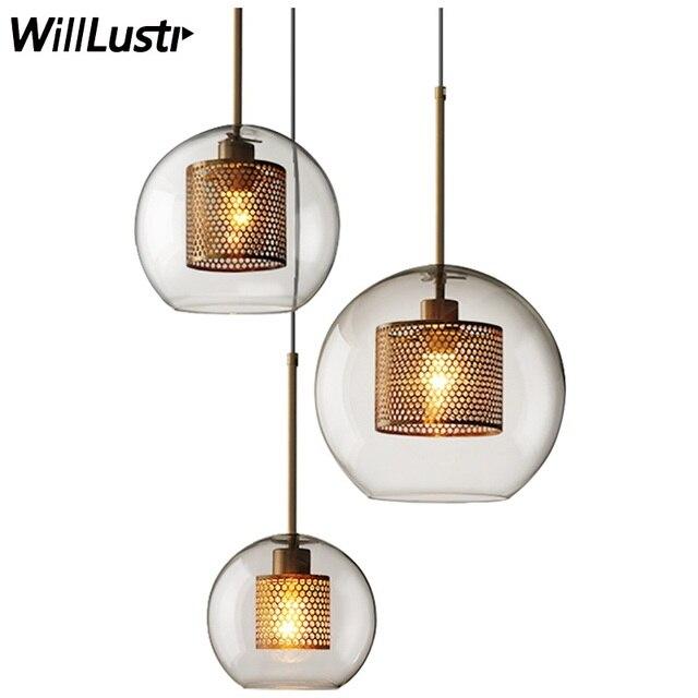 Moderne Ijzeren Zeef Hanger Lamp Helder Transparant Glas Industrie Ontwerp Eetkamer Restaurant Hotel Loft Schorsing Licht-in Hanglampen van Licht & verlichting op