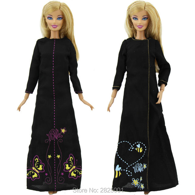 Us 6 55 5 Off Handmade 2x Black Dress Butterfly Bee Pattern Long Sleeves Split Skirt Princess Party Costume Muslim Clothes For Barbie Doll Toy In