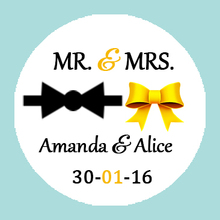 CUSTOM Wedding Sticker -Golden Wedding Favors Personalized MR & MRS labels,Tuxedo Bow and Gold Ribbon,Wedding Sticker