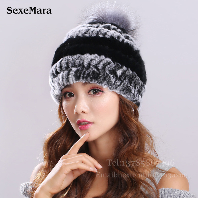 New Lovely Real Mink Fur Hat For Women Winter Knitted Mink Fur Beanies Cap With Fox Fur Pom Poms Brand New Thick Female Cap 003 real mink fur hat for women winter knitted mink fur beanies cap fox fur pom poms brand new thick female cap