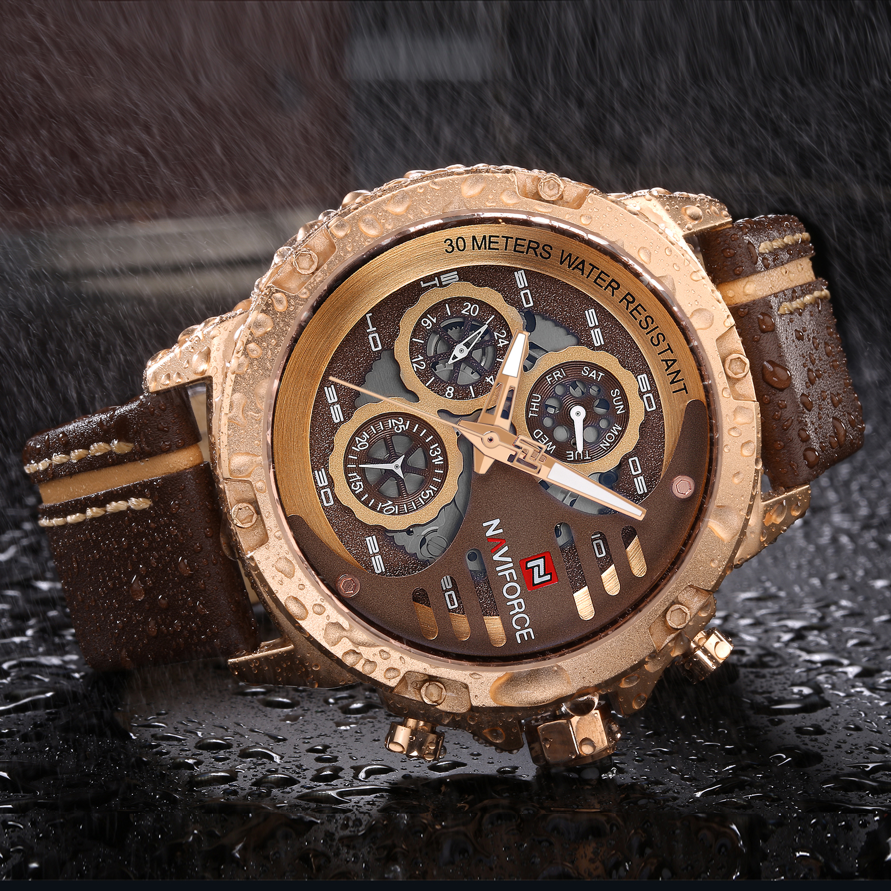 <font><b>NAVIFORCE</b></font> Top Luxury Brand Watches Fashion Quartz Clock Men Leather Strap Chronograph Date Rose Gold Watch Waterproof Wristwatch image