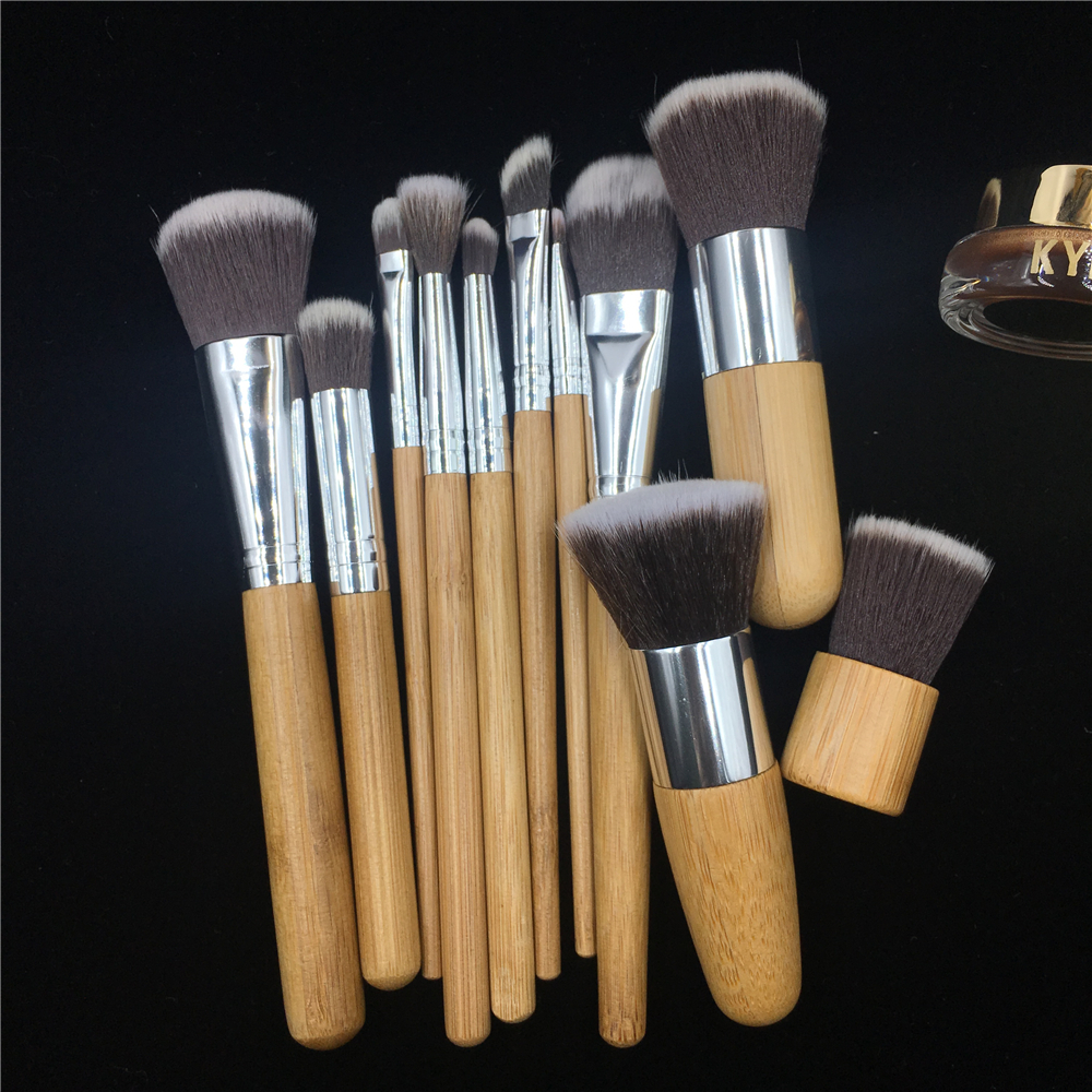 Natural Wood Bamboo Handle Makeup Brushes 11pcs Set