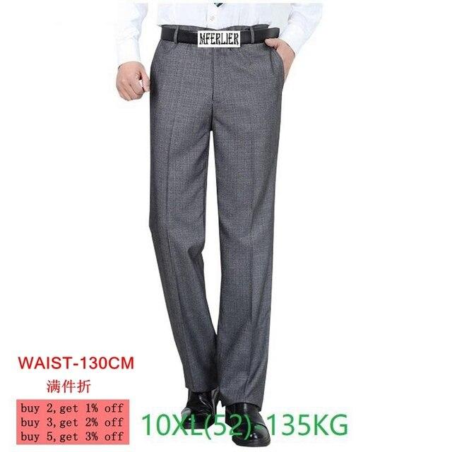 Plus size grote 8XL 9XL 10XL pak broek Mannen Grote maat Classic casual broek zomer Zakelijke formele kantoor Rechte broek 50 52