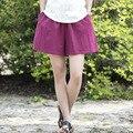 Ropa de algodón Elástico de la cintura Mujeres Shorts Faldas Sólido Blanco Azul Sueltos Pantalones Cortos Ocasionales Del Verano Mujeres de talla grande Vintage Shorts B120