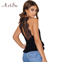 ArtSu Sexy Lace Chiffon Tank Top Backless Sleeveless Top Women Summer 2017 Camis Vest Black White