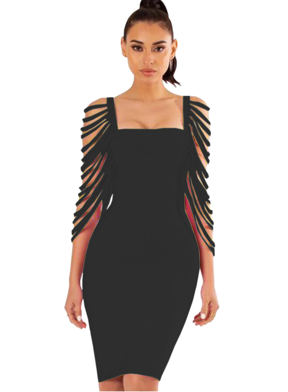 Woman Tassel Sleeve Slim Bodycon Dress Knee Length Summer Elegant Party Dress Knit Sheath Sexy Club Outfit Women Vestidos Black in Dresses from Women 39 s Clothing