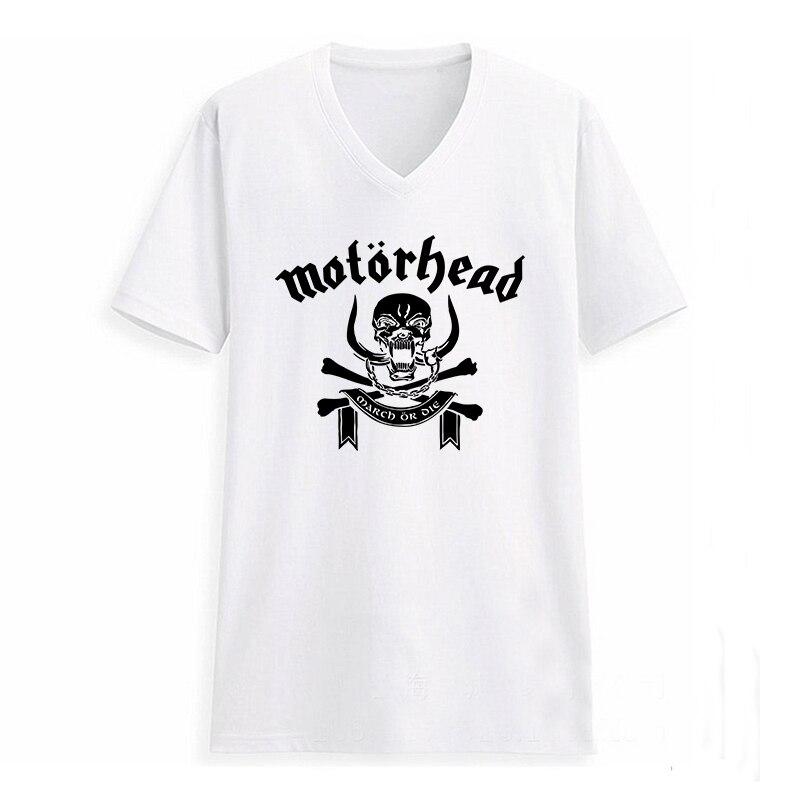 Moonprint Motorhead Men Letter Print T-shirt Swag Heavy Metal Music V Neck Street Hiphop Russia Man Printed Tshirt Black White Grey Gray