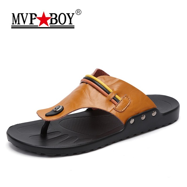 740634f392075c MVP BOY Classics Summer slippers men genuine leather sandals for men  quality comfortable flip flops men Beach sandals