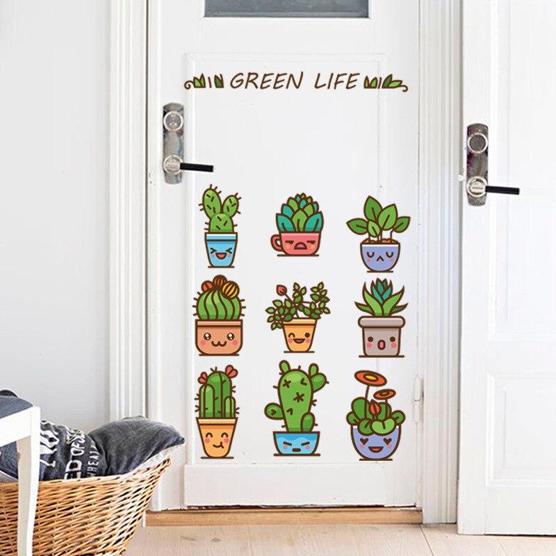 Glass Front Kids Room Decor: Green Cactus Flower Pots Wall Stickers Kids Cute Plants