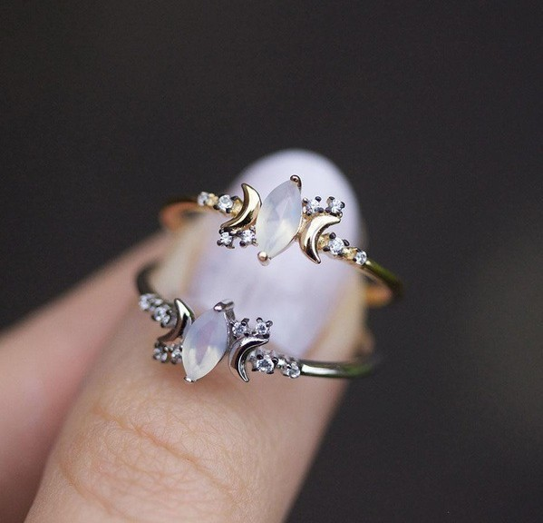 2018 New Vintage Geometric Jewelry Women Sliver/rose gold Moonstone Ring For Wom