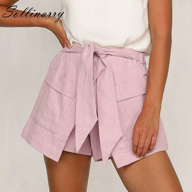 Sollinarry Pink High Waist Pocket Women Summer Shorts Casual Beach Wide Leg Female Shorts High Fashion Solid Bow Sexy Short Boho