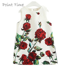 Girl Rose Flower Dress A-Line Floral Dress