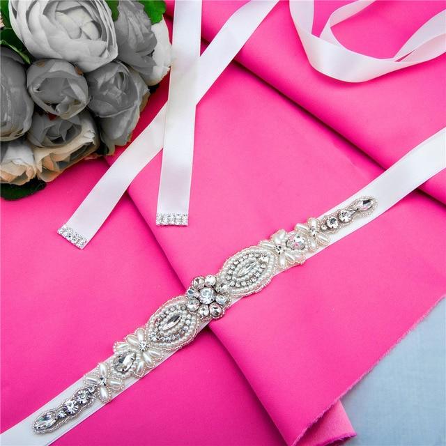 TOPQUEEN women's S43 handmade Rhinestone Wedding evening dress sash Belts Bridal bride Belt Sashes for the party