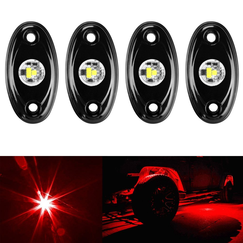 ФОТО LED Rock Light Kits for Interior Exterior Under Off Road Truck ATV SUV 4x4 Boat 4wd Motorcycle Car - Red 4 pcs