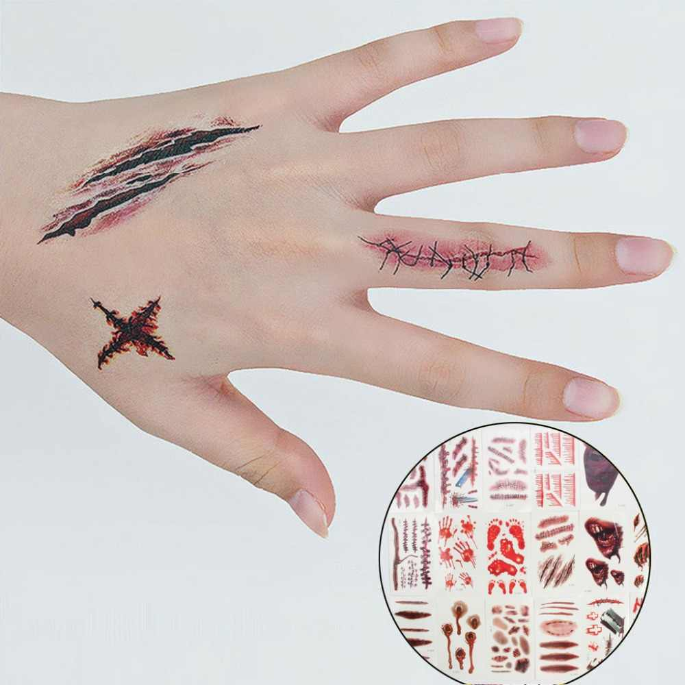 d6e9a2f07 Detail Feedback Questions about 18 Pack Halloween Temporary Tattoos Scratch  Wound Scab Blood Scar Tattoos For Halloween Zombies Cosplay Costume  waterproof ...