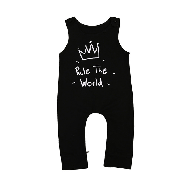 6ab07772506 US $4.19 | Cotton Newborn Kidsd Baby Boy Girls crown Romper Black  Sleeveless Jumpsuit Clothes Outfits Baby Clothing-in Rompers from Mother &  Kids on ...