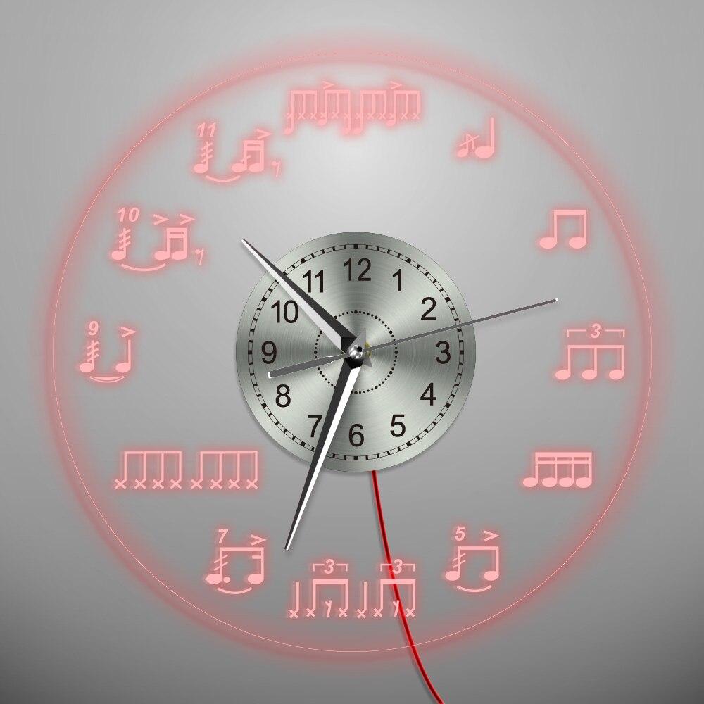 1 pièce Notes de Musique LED Éclairage Mural Horloge Home Decor Treble clef Musicien Musical Notes Mûr Décoratif Éclairage
