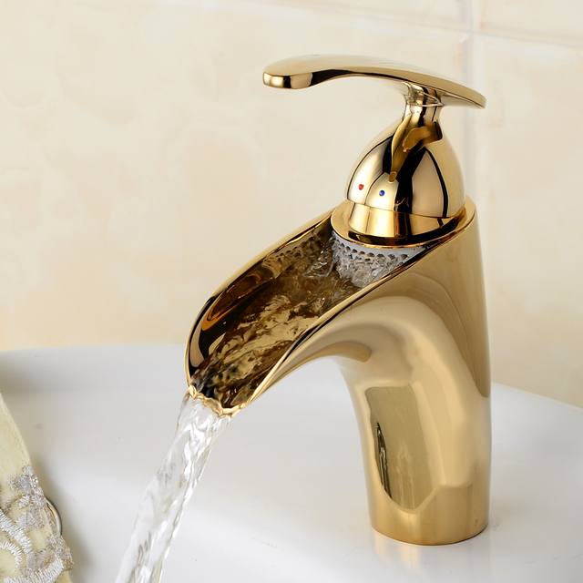 Newest Gilded Design Crane Waterfall Bathroom Basin Faucet High ...