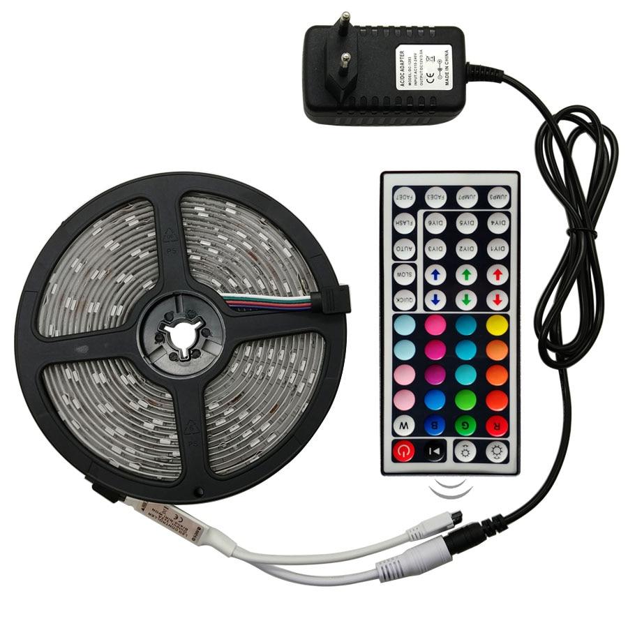 HTB1iZNoXfWG3KVjSZPcq6zkbXXaj RiRi won SMD RGB LED Strip Light 5050 2835 10M 5M LED Light rgb Leds tape diode ribbon Flexible Controller DC 12V Adapter set