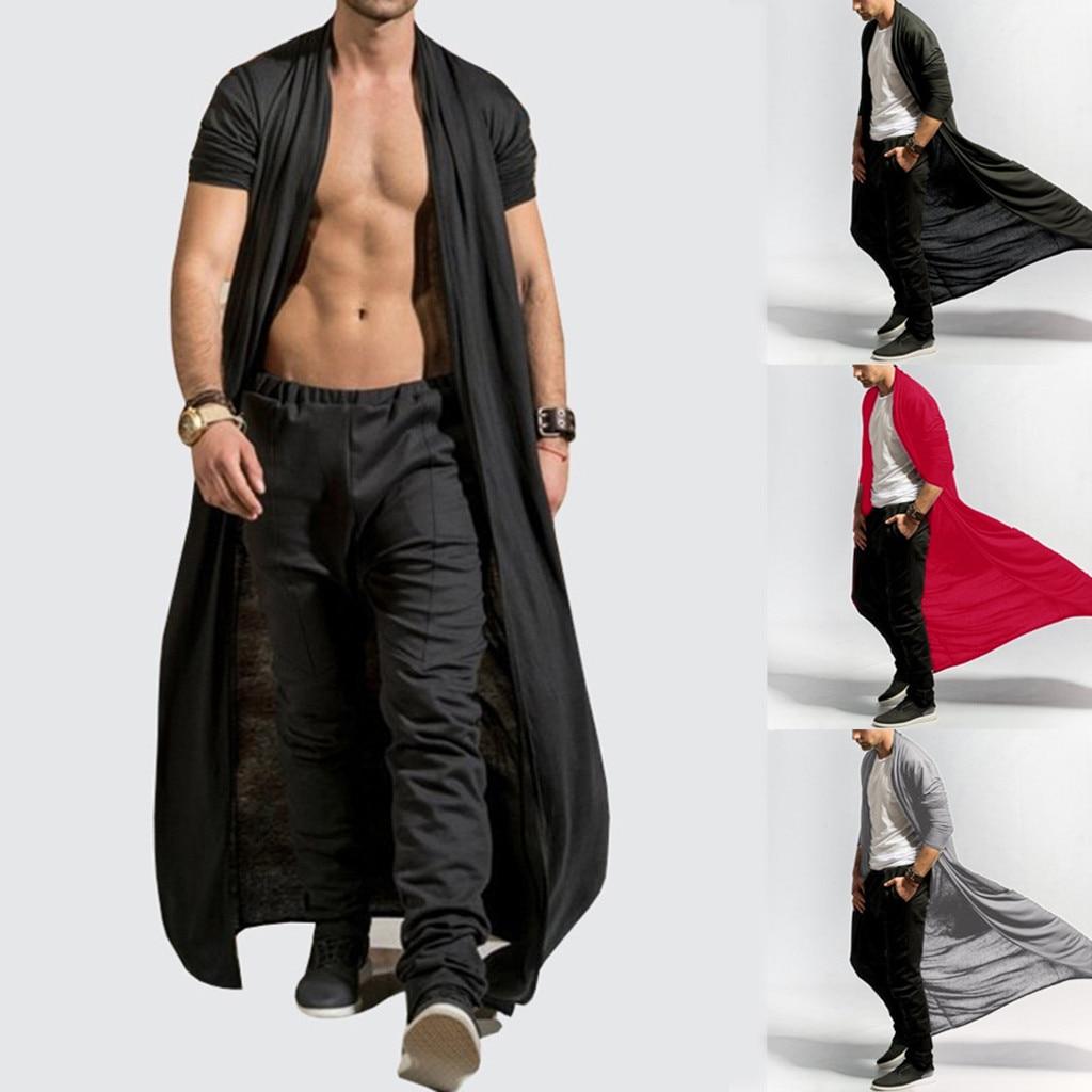 Men's Cardigans Casual 0Slim Solid Long Shirt Tops Long Coat Outerwear Plus Size