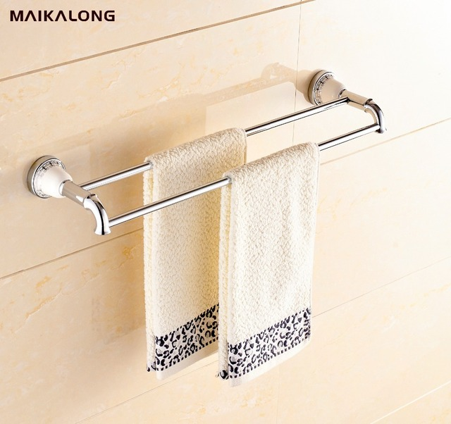 Chromewhite Porcelain Ceramic Chrome Double Towel Bar Towel