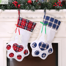 Plaid Christmas Gift Bags Decorations Pet Dog Cat Paw Stockings Tree Ornaments New Year